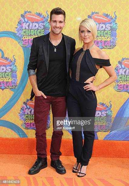 Actor James Maslow and dancer Peta Murgatroyd arrive at Nickelodeon's 27th Annual Kids' Choice Awards at USC Galen Center on March 29 2014 in Los...