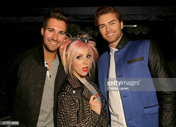 Actor James Maslow recording artist Bonnie McKee and actor Pierson Fode attend the NYLON Young Hollywood Party presented by BCBGeneration at HYDE...