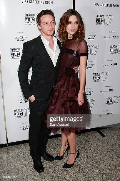 Actor James McAvoy and actress Keira Knightley wearing Chanel arrives at the 'Atonement' north american premiere during the Toronto International...