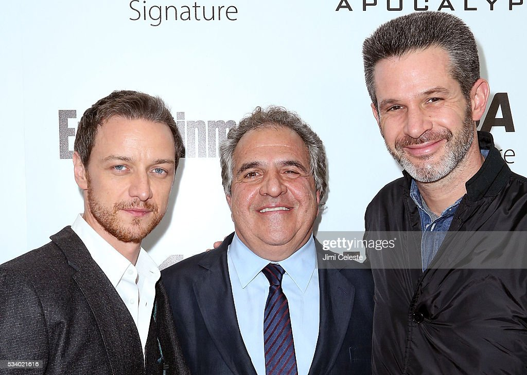 Actor <a gi-track='captionPersonalityLinkClicked' href=/galleries/search?phrase=James+McAvoy&family=editorial&specificpeople=647005 ng-click='$event.stopPropagation()'>James McAvoy</a>, <a gi-track='captionPersonalityLinkClicked' href=/galleries/search?phrase=Jim+Gianopulos&family=editorial&specificpeople=211611 ng-click='$event.stopPropagation()'>Jim Gianopulos</a>, <a gi-track='captionPersonalityLinkClicked' href=/galleries/search?phrase=Simon+Kinberg&family=editorial&specificpeople=2347671 ng-click='$event.stopPropagation()'>Simon Kinberg</a> attends the special screening of 'X-MEN Apocalypse' at Entertainment Weekly on May 24, 2016 in New York City.