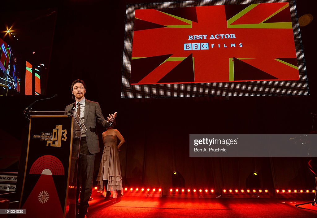 Actor James McAvoy receives the award for Best Actor as he attends the ceremony for the Moet British Independent Film Awards at Old Billingsgate Market on December 8, 2013 in London, England.