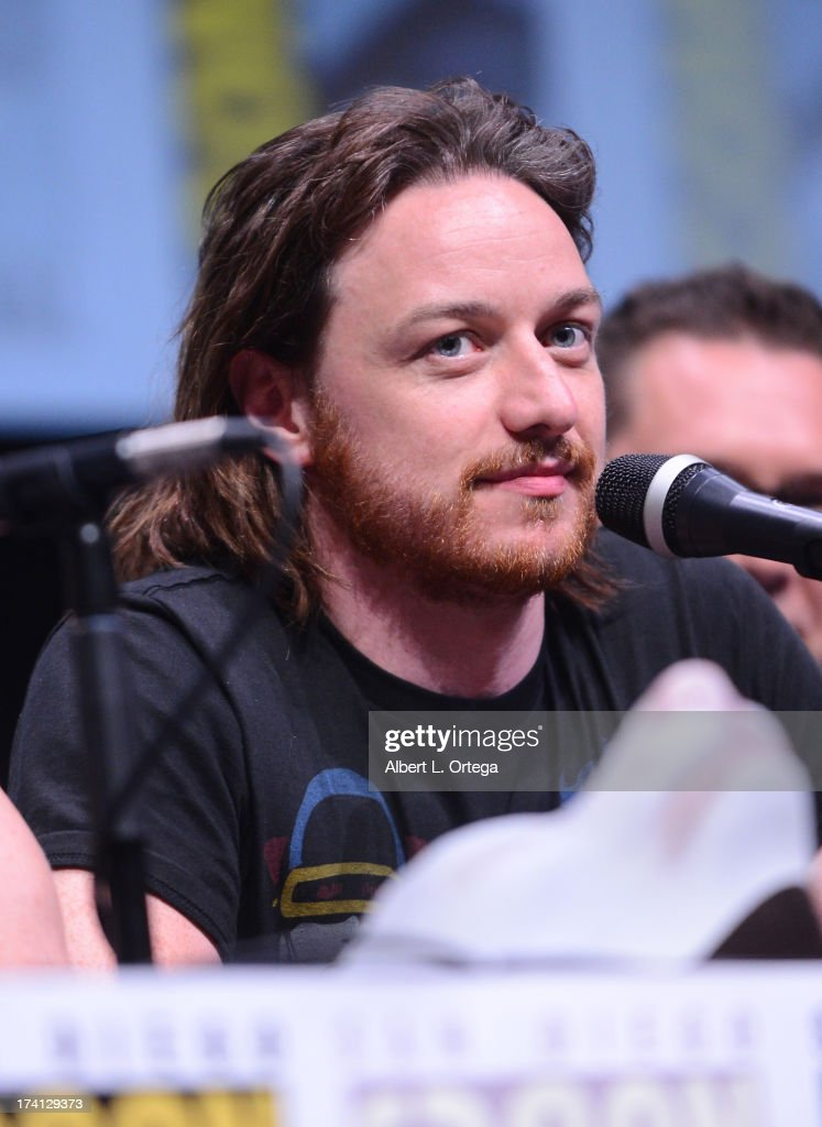 Actor <a gi-track='captionPersonalityLinkClicked' href=/galleries/search?phrase=James+McAvoy&family=editorial&specificpeople=647005 ng-click='$event.stopPropagation()'>James McAvoy</a> speaks at the 20th Century Fox 'X-Men: Days of Future Past' panel during Comic-Con International 2013 at San Diego Convention Center on July 20, 2013 in San Diego, California.