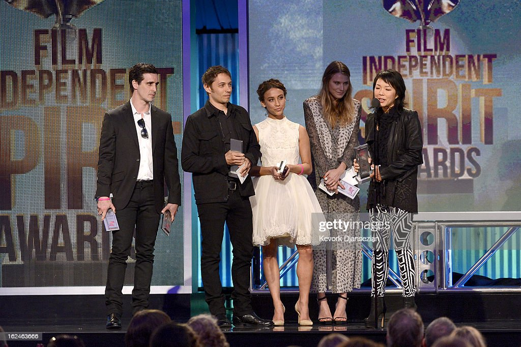 Actor James Ransone, director Sean Baker, actors Stella Maeve and Dree Hemingway and casting director Julia Kim accept the Robert Altman Award onstage during the 2013 Film Independent Spirit Awards at Santa Monica Beach on February 23, 2013 in Santa Monica, California.