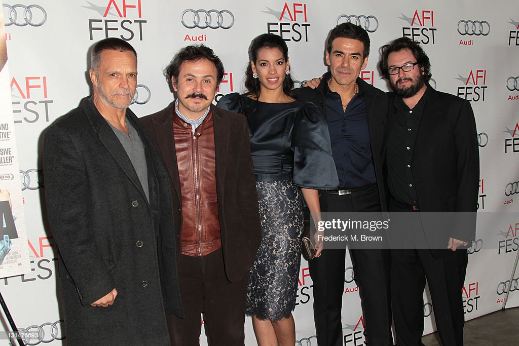 Actor James Russo (L), director Gerardo Naranjo, actors <a gi-track='captionPersonalityLinkClicked' href=/galleries/search?phrase=Stephanie+Sigman&family=editorial&specificpeople=7187720 ng-click='$event.stopPropagation()'>Stephanie Sigman</a>, Jose Yenque and producer Pablo Cruz arrive at the 'Miss Bala' Centerpiece Gala during AFI FEST 2011 presented by Audi at the Egyptian Theatre on November 4, 2011 in Hollywood, California.