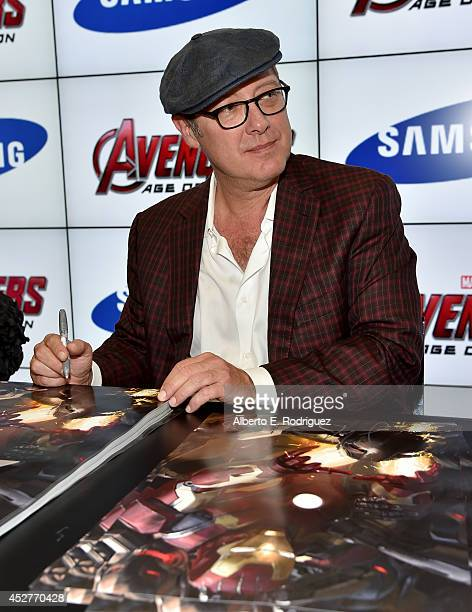 Actor James Spader attends Marvel's 'Avengers Age Of Ultron' Hall H Panel Booth Signing during ComicCon International 2014 at San Diego Convention...