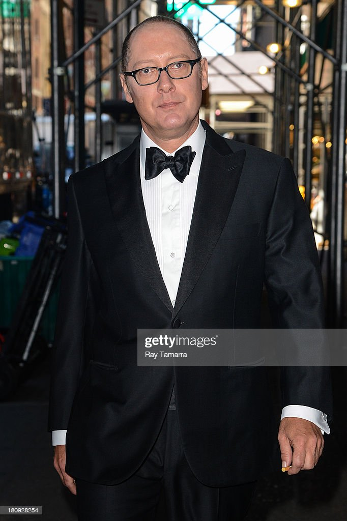 Actor <a gi-track='captionPersonalityLinkClicked' href=/galleries/search?phrase=James+Spader&family=editorial&specificpeople=544640 ng-click='$event.stopPropagation()'>James Spader</a> enters 'The Blacklist' movie set in Midtown Manhattan on September 17, 2013 in New York City.