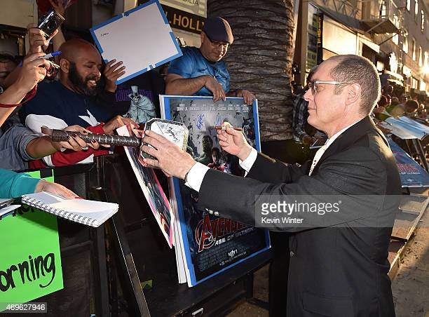 Actor James Spader signs autographs during the premiere of Marvel's 'Avengers Age Of Ultron' at Dolby Theatre on April 13 2015 in Hollywood California