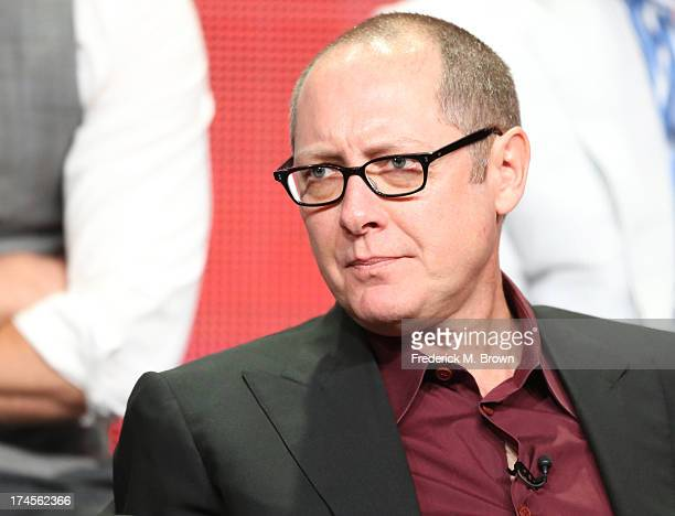 Actor James Spader speaks onstage during 'The Blacklist' panel discussion at the NBC portion of the 2013 Summer Television Critics Association tour...