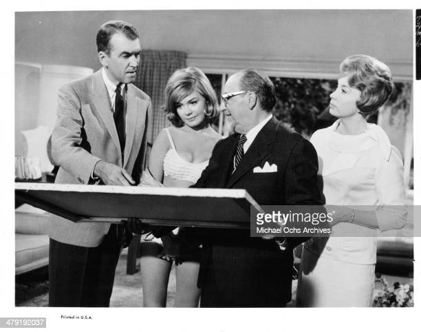 Actor James Stewart actress Sandra Dee and Audrey Meadows and actor James Stewart in a scene from the movie 'Take Her She's Mine' circa 1963
