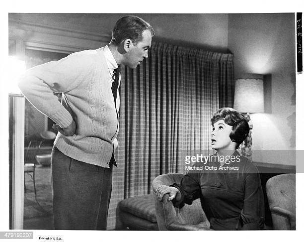 Actor James Stewart and actress Audrey Meadows in a scene from the movie 'Take Her She's Mine' circa 1963