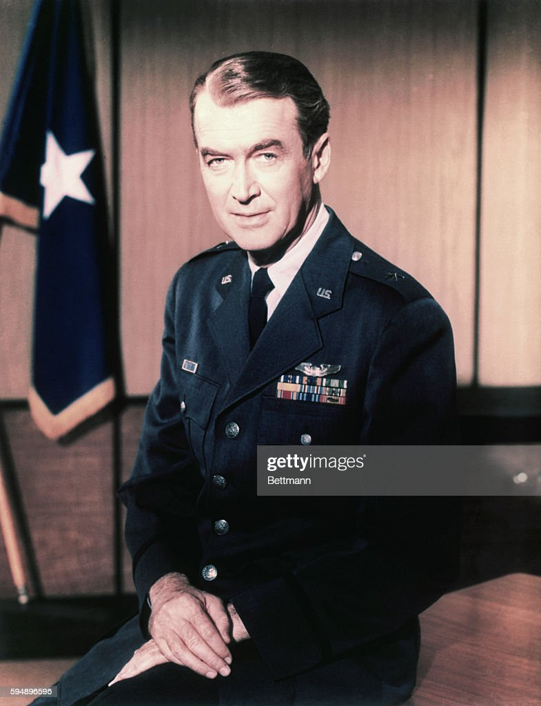 Actor James Stewart wears his Air Force Reserve uniform, from which he retired as a Brigadier General in 1959.