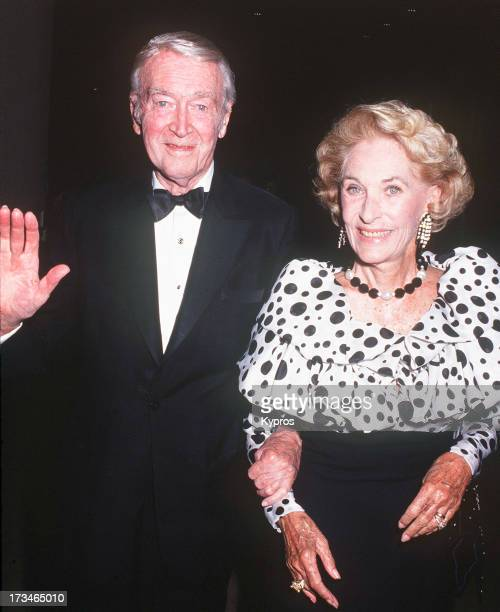 Actor James Stewart with his wife Gloria circa 1992