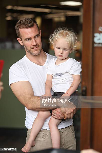 Actor James Van Der Beek and son Joshua hang out while Kimberly Van Der Beek hosts a kidfriendly cooking class at Lassens At The Lakes on June 9 2015...