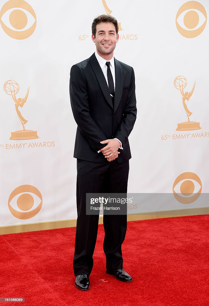 Actor <a gi-track='captionPersonalityLinkClicked' href=/galleries/search?phrase=James+Wolk&family=editorial&specificpeople=6966494 ng-click='$event.stopPropagation()'>James Wolk</a> arrives at the 65th Annual Primetime Emmy Awards held at Nokia Theatre L.A. Live on September 22, 2013 in Los Angeles, California.
