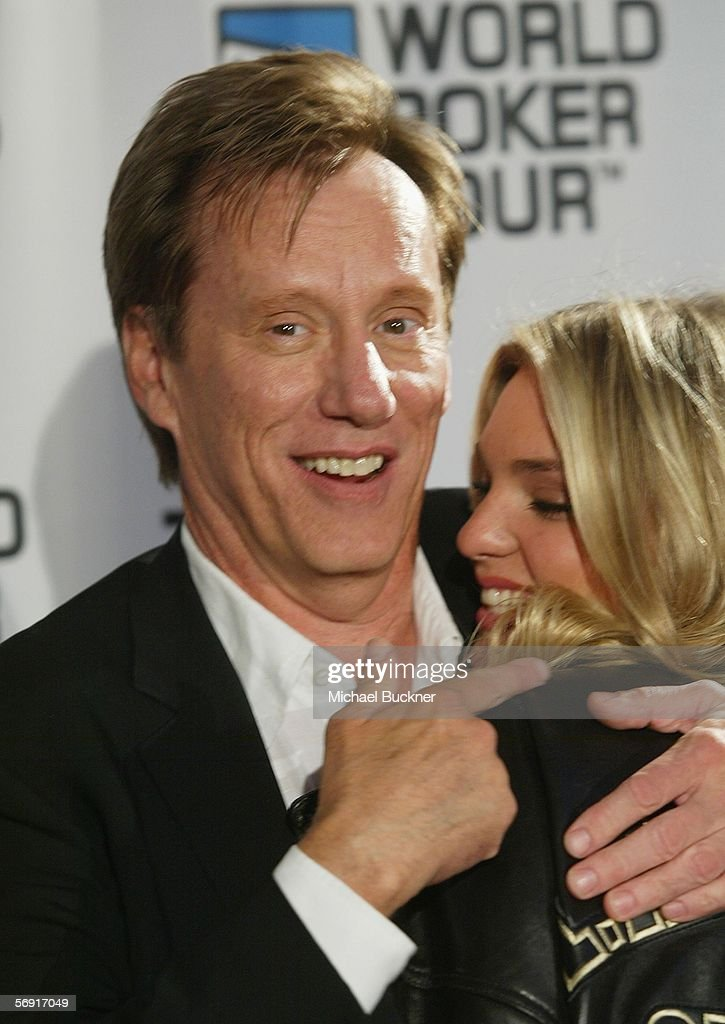 Actor James Woods and friend Ashley Madison arrive at the World Poker Tour Invitational at the Commerce Casino on February 22 2006 in Los Angeles...