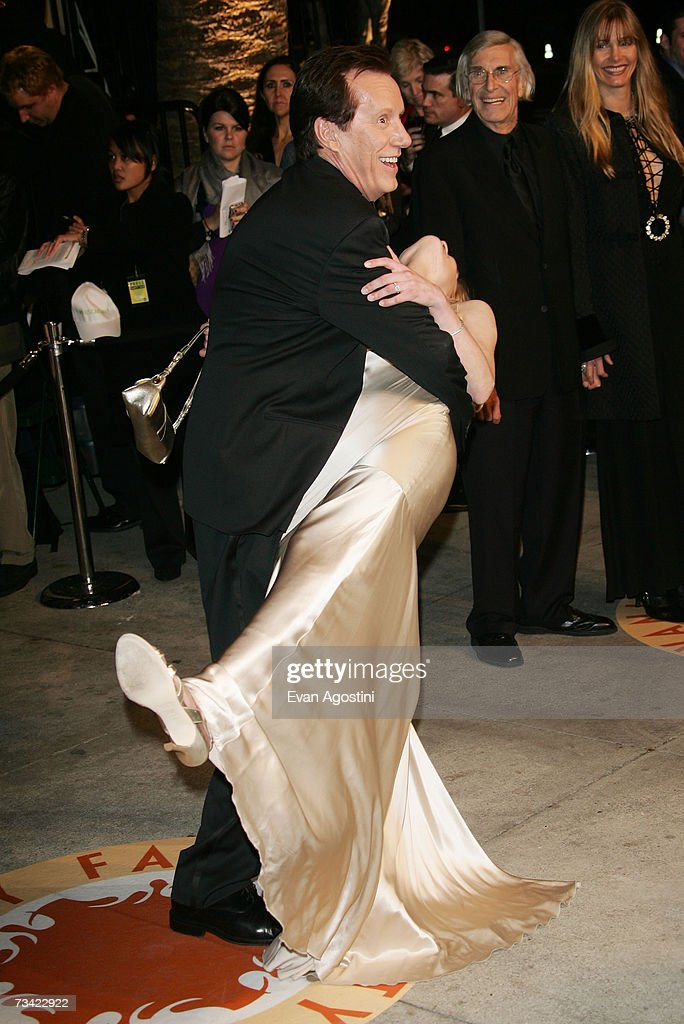Actor James Woods and guest arrive at the 2007 Vanity Fair Oscar Party at Mortons on February 25 2007 in West Hollywood California
