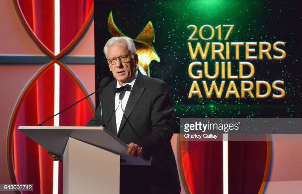 Actor James Woods speaks onstage during the 2017 Writers Guild Awards LA Ceremony at The Beverly Hilton Hotel on February 19 2017 in Beverly Hills...