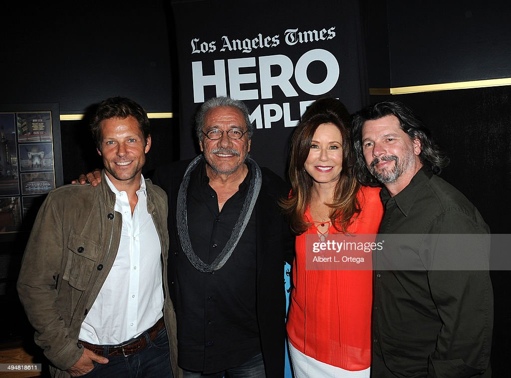 Actor Jamie Bamber, actor Edward James Olmos, actress Mary McDonnell and writer/producer Ronald D. Moore arrive for the 5th Annual Hero Complex Film Festival - 'Battlestar Galactica' Screening and Q&A held at the TCL Chinese Theater on May 30, 2014 in Hollywood, California.