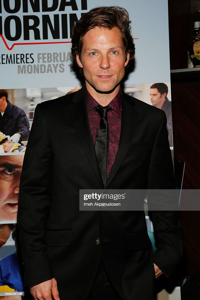 Actor <a gi-track='captionPersonalityLinkClicked' href=/galleries/search?phrase=Jamie+Bamber&family=editorial&specificpeople=4238397 ng-click='$event.stopPropagation()'>Jamie Bamber</a> attends the screening of TNT's 'Monday Mornings' at BOA Steakhouse on January 24, 2013 in West Hollywood, California.