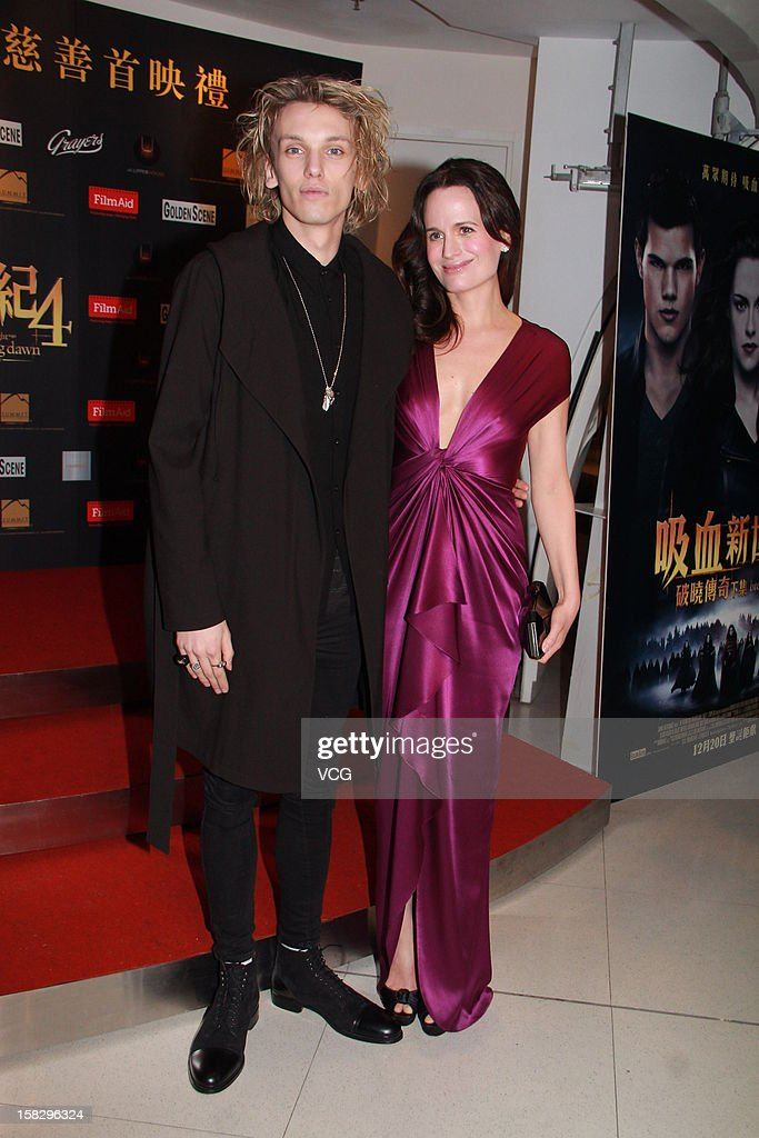 Actor Jamie Campbell Bower and actress Elizabeth Reaser attend the 'Twilight Saga: Breaking Dawn Part 2' premiere at the Grand Cinema on December 12, 2012 in Hong Kong, Hong Kong.