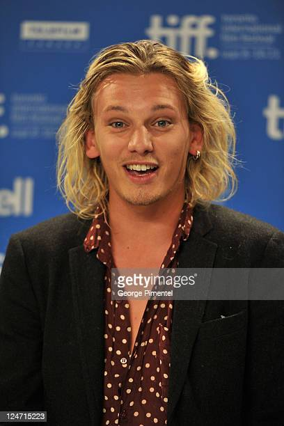 Actor Jamie Campbell Bower arrives at 'Anonymous' press conference during the 2011 Toronto International Film Festival at TIFF Bell Lightbox on...
