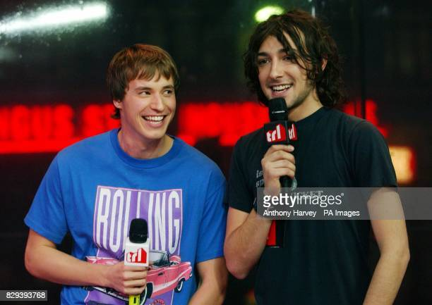 Actor Jamie Davies from TV show Hex with presenter Alex Zane during his guest appearance on MTV's TRL Total Request Live show at their new studios in...