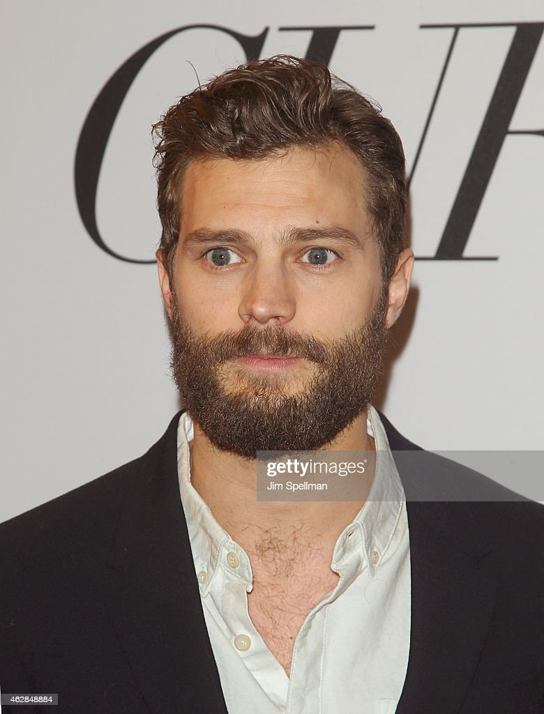 Actor Jamie Dornan attends the 'Fifty Shades Of Grey' New York fan first screening at Ziegfeld Theatre on February 6, 2015 in New York City.