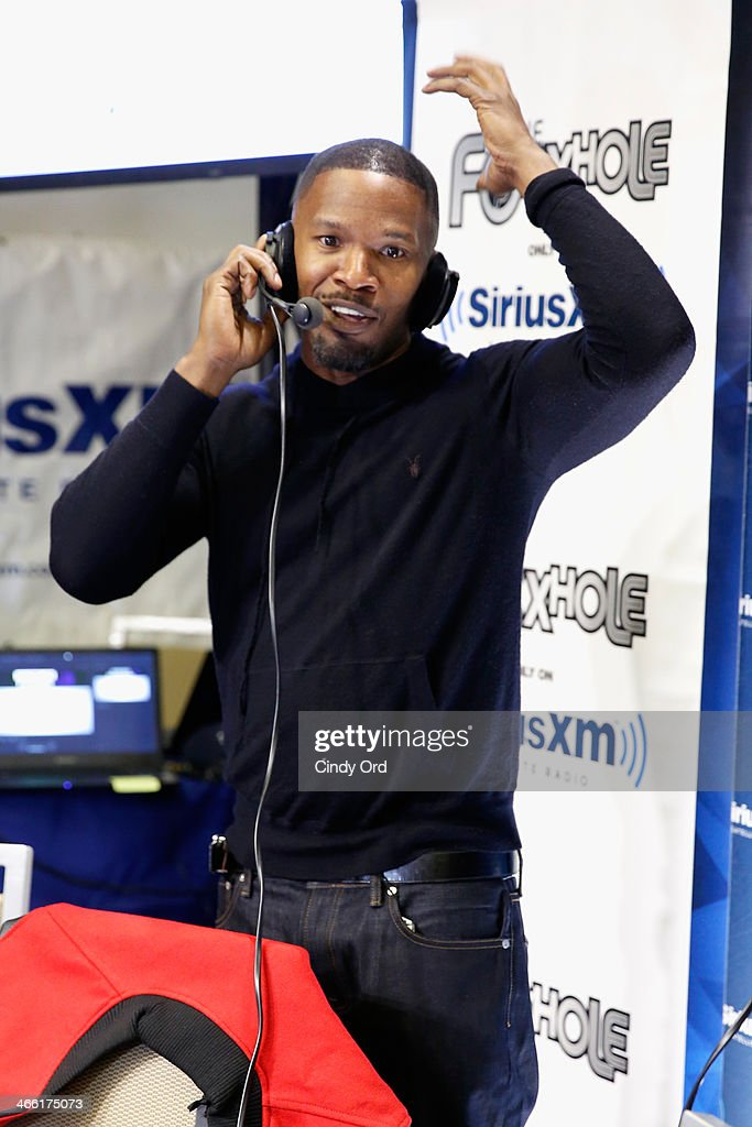 Actor Jamie Fox hosts SiriusXM's The Foxxhole show at Super Bowl XLVIII Radio Row on January 31, 2014 in New York City.
