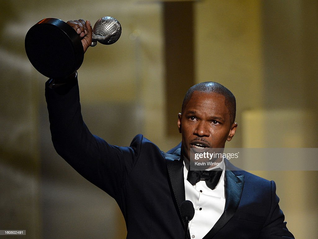 Actor <a gi-track='captionPersonalityLinkClicked' href=/galleries/search?phrase=Jamie+Foxx&family=editorial&specificpeople=201715 ng-click='$event.stopPropagation()'>Jamie Foxx</a> accepts Entertainer of the Year award onstage during the 44th NAACP Image Awards at The Shrine Auditorium on February 1, 2013 in Los Angeles, California.