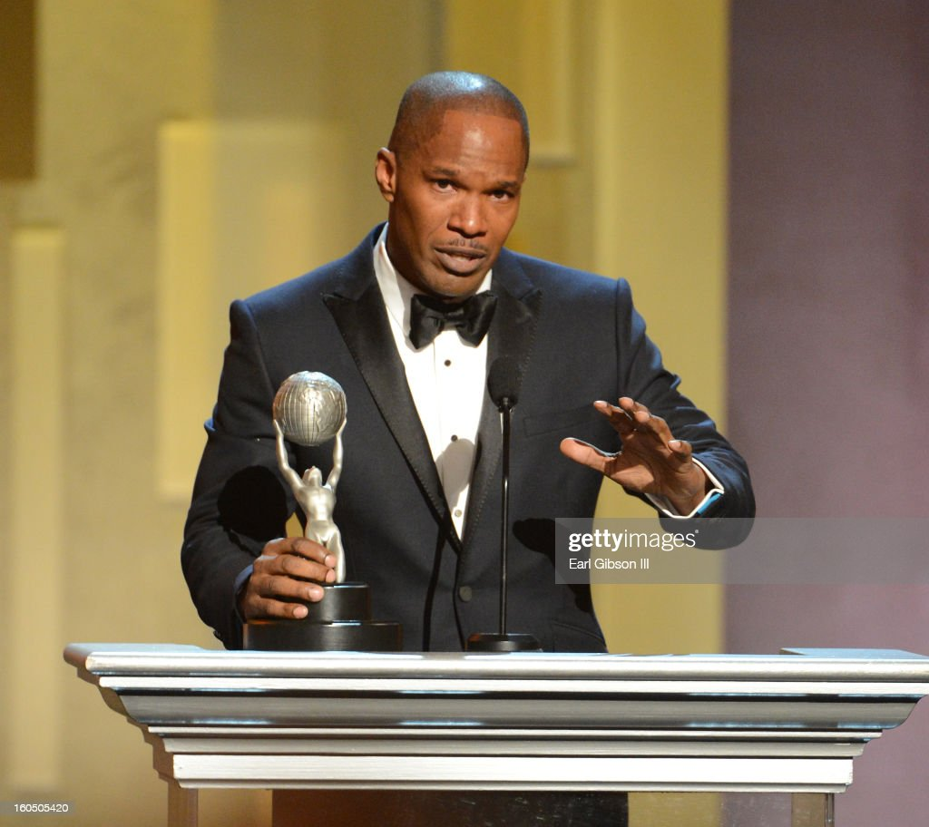 Actor Jamie Foxx accepts Entertainer of the Year award onstage during the 44th NAACP Image Awards at The Shrine Auditorium on February 1, 2013 in Los Angeles, California.