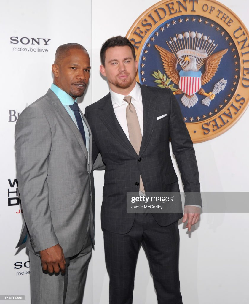 Actor Jamie Foxx (L) and actor Channing Tatum attend 'White House Down' New York Premiere at Ziegfeld Theater on June 25, 2013 in New York City.