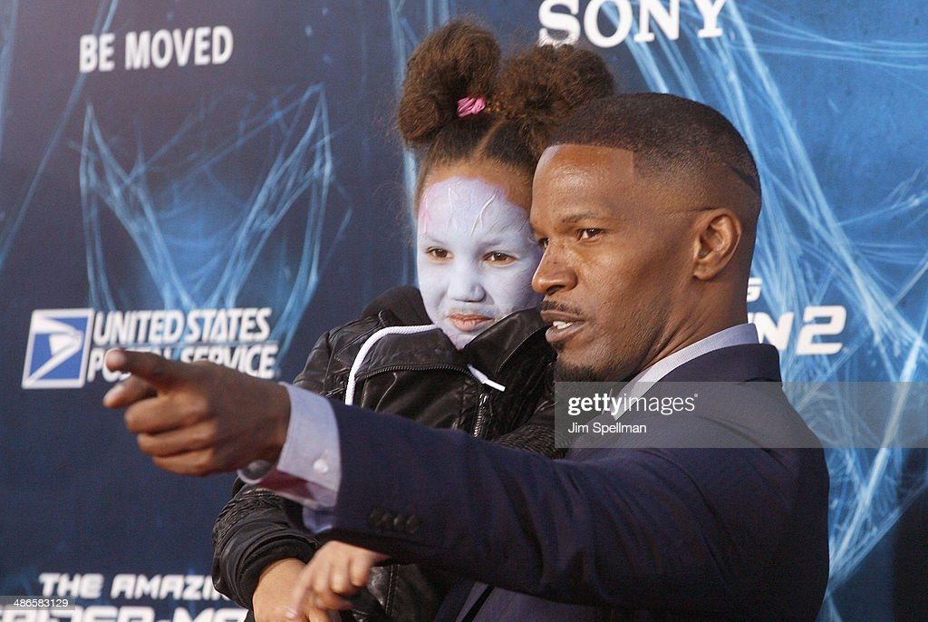 Actor <a gi-track='captionPersonalityLinkClicked' href=/galleries/search?phrase=Jamie+Foxx&family=editorial&specificpeople=201715 ng-click='$event.stopPropagation()'>Jamie Foxx</a> and daughter <a gi-track='captionPersonalityLinkClicked' href=/galleries/search?phrase=Annalise+Bishop&family=editorial&specificpeople=10846979 ng-click='$event.stopPropagation()'>Annalise Bishop</a> attend the 'The Amazing Spider-Man 2' New York Premiere on April 24, 2014 in New York City.