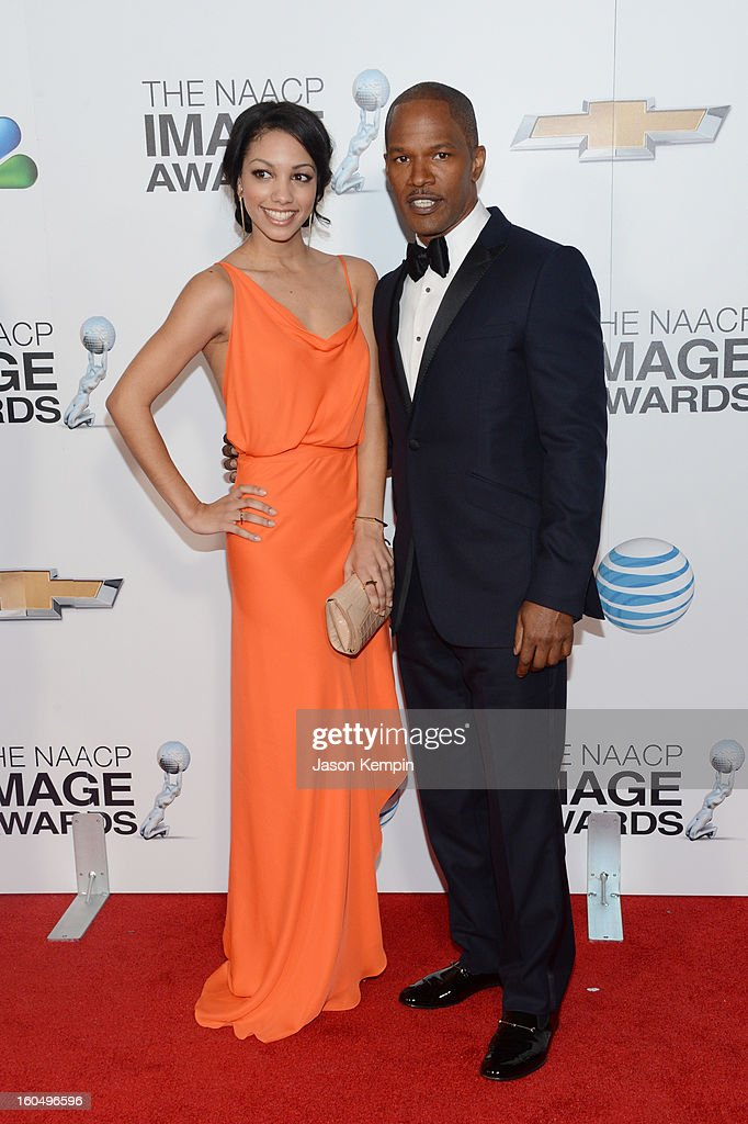 Actor <a gi-track='captionPersonalityLinkClicked' href=/galleries/search?phrase=Jamie+Foxx&family=editorial&specificpeople=201715 ng-click='$event.stopPropagation()'>Jamie Foxx</a> (R) and daughter Corinne Bishop arrive at the 44th NAACP Image Awards held at The Shrine Auditorium on February 1, 2013 in Los Angeles, California.