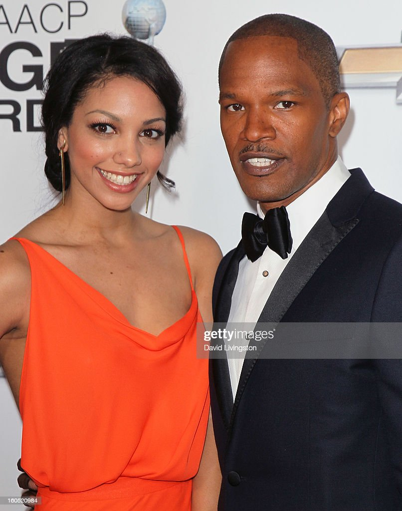 Actor Jamie Foxx (R) and daughter Corinne Bishop attend the 44th NAACP Image Awards at the Shrine Auditorium on February 1, 2013 in Los Angeles, California.