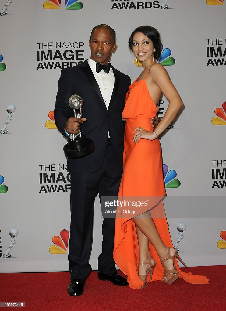 Actor Jamie Foxx and daughter Corrine Bishop pose inside the press room of the 44th NAACP Image Awards held at the Shrine Auditorium on February 1, 2013 in Los Angeles, California.