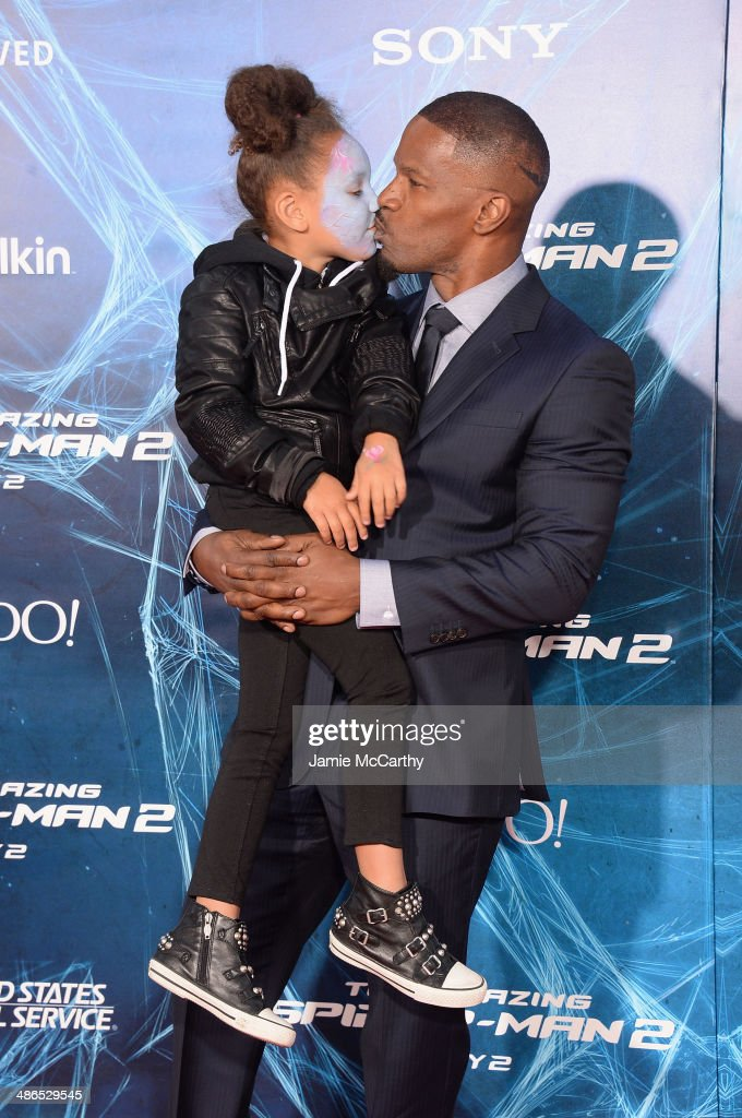 Actor <a gi-track='captionPersonalityLinkClicked' href=/galleries/search?phrase=Jamie+Foxx&family=editorial&specificpeople=201715 ng-click='$event.stopPropagation()'>Jamie Foxx</a> (R) and his daughter Annalise attend 'The Amazing Spider-Man 2' premiere at the Ziegfeld Theater on April 24, 2014 in New York City.