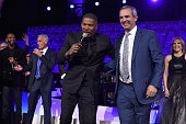 Actor Jamie Foxx and John Molner appear onstage during Stand Up To Cancer's New York Standing Room Only presented by Entertainment Industry...