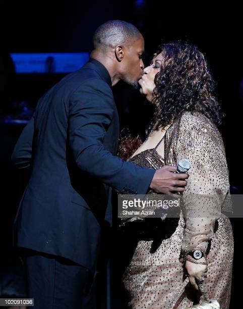 Actor Jamie Foxx and singer Aretha Franklin attends the 2010 Apollo Theater Spring Benefit Concert Awards Ceremony at The Apollo Theater on June 14...