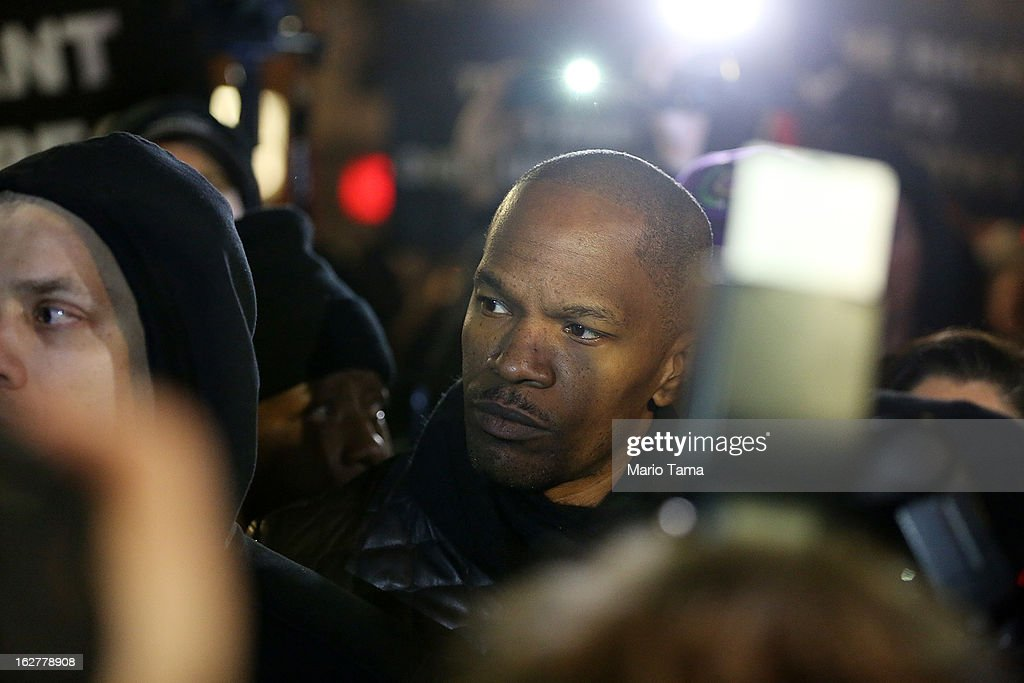 Actor <a gi-track='captionPersonalityLinkClicked' href=/galleries/search?phrase=Jamie+Foxx&family=editorial&specificpeople=201715 ng-click='$event.stopPropagation()'>Jamie Foxx</a> attends a candlelight vigil for Trayvon Martin in Union Square on February 26, 2013 in New York, New York. Vigils were held in Florida and New York on the one year anniversary of teenager Trayvon Martin's shooting death by George Zimmerman in Florida.