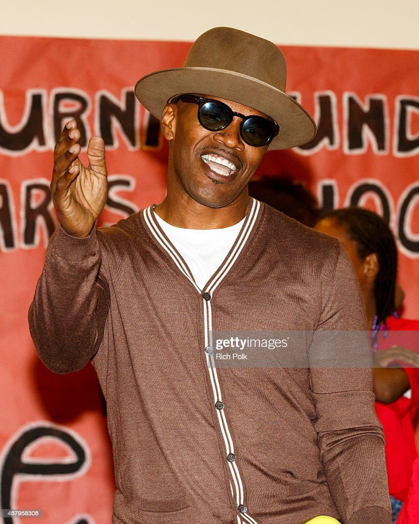Actor Jamie Foxx attends a Turnaround Arts Los Angeles Event with the Cast Of 'Annie' on October 27 2014 in Inglewood California