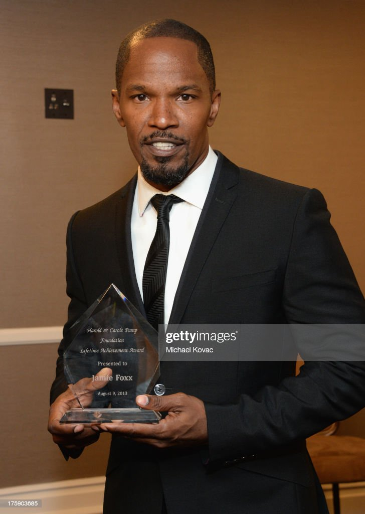 Actor <a gi-track='captionPersonalityLinkClicked' href=/galleries/search?phrase=Jamie+Foxx&family=editorial&specificpeople=201715 ng-click='$event.stopPropagation()'>Jamie Foxx</a> attends the 13th Annual Harold And Carole Pump Foundation Gala Honoring <a gi-track='captionPersonalityLinkClicked' href=/galleries/search?phrase=Jamie+Foxx&family=editorial&specificpeople=201715 ng-click='$event.stopPropagation()'>Jamie Foxx</a>, Shaquille O'Neal, And Joe Torre at The Beverly Hilton Hotel on August 9, 2013 in Beverly Hills, California.