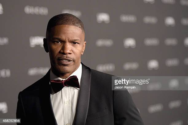 Actor Jamie Foxx attends the 2014 LACMA Art Film Gala honoring Barbara Kruger and Quentin Tarantino presented by Gucci at LACMA on November 1 2014 in...