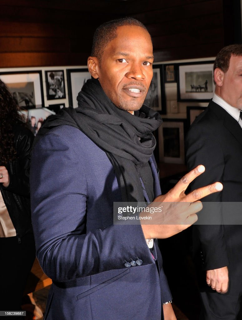 Actor <a gi-track='captionPersonalityLinkClicked' href=/galleries/search?phrase=Jamie+Foxx&family=editorial&specificpeople=201715 ng-click='$event.stopPropagation()'>Jamie Foxx</a> attends the after party for a screening 'Django Unchained' hosted by The Weinstein Company With The Hollywood Reporter, Samsung Galaxy And The Cinema Society at The High Line Room in The Standard Hotel on December 11, 2012 in New York City.