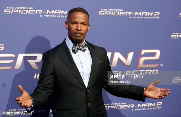 Actor Jamie Foxx attends 'The Amazing SpiderMan 2 Rise Of Electro' Rome Premiere at The Space Moderno Cinema on April 14 2014 in Rome Italy