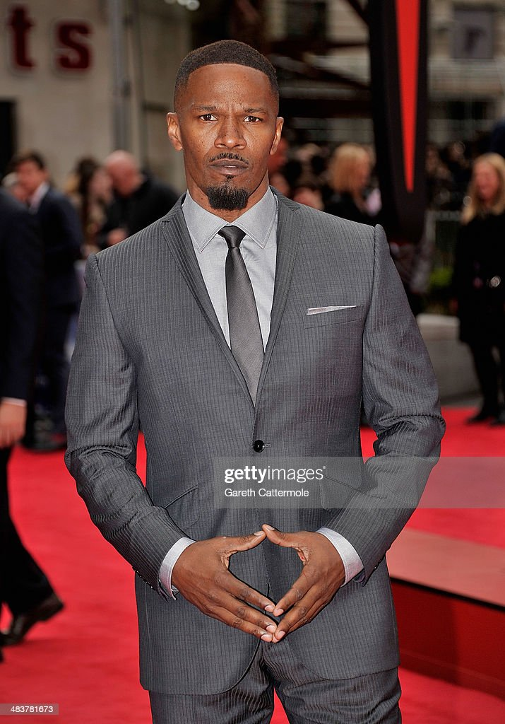 Actor <a gi-track='captionPersonalityLinkClicked' href=/galleries/search?phrase=Jamie+Foxx&family=editorial&specificpeople=201715 ng-click='$event.stopPropagation()'>Jamie Foxx</a> attends 'The Amazing Spider-Man 2' world premiere at the Odeon Leicester Square on April 10, 2014 in London, England.