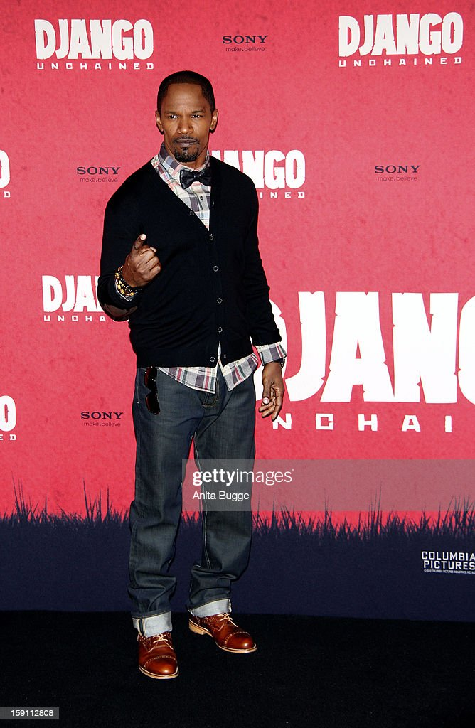 Actor <a gi-track='captionPersonalityLinkClicked' href=/galleries/search?phrase=Jamie+Foxx&family=editorial&specificpeople=201715 ng-click='$event.stopPropagation()'>Jamie Foxx</a> attends the 'Django Unchained' Berlin Photocall at Hotel de Rome on January 8, 2013 in Berlin, Germany.