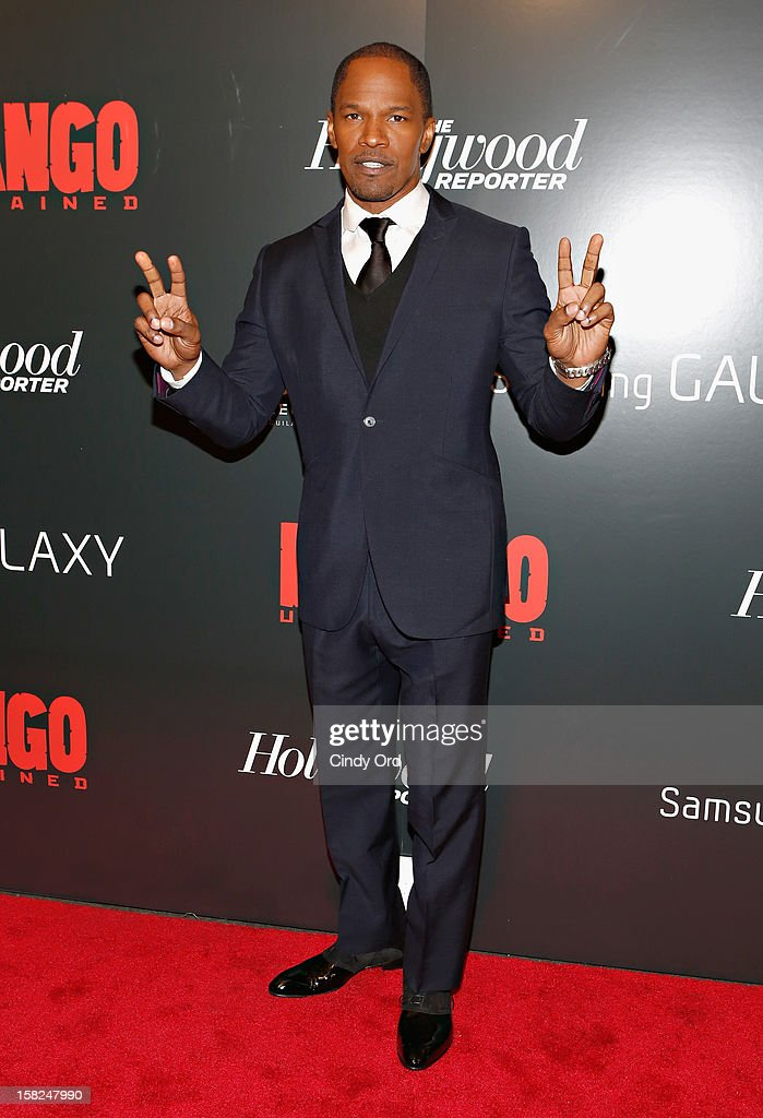 Actor <a gi-track='captionPersonalityLinkClicked' href=/galleries/search?phrase=Jamie+Foxx&family=editorial&specificpeople=201715 ng-click='$event.stopPropagation()'>Jamie Foxx</a> attends the Django Unchained NY premiere at Ziegfeld Theatre on December 11, 2012 in New York City.