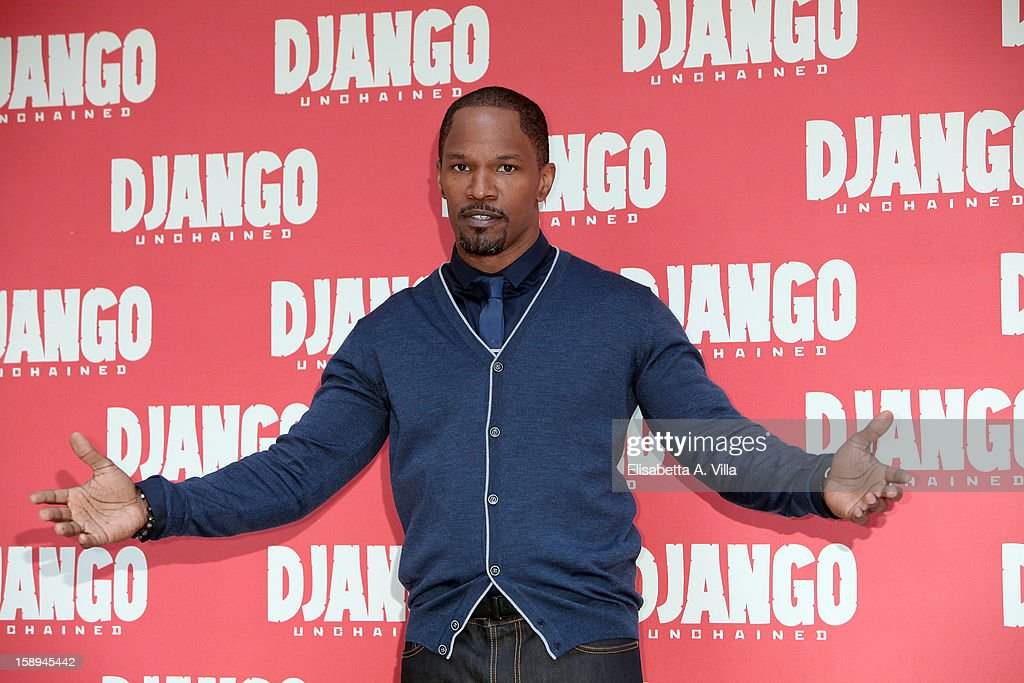 Actor <a gi-track='captionPersonalityLinkClicked' href=/galleries/search?phrase=Jamie+Foxx&family=editorial&specificpeople=201715 ng-click='$event.stopPropagation()'>Jamie Foxx</a> attends the 'Django Unchained' photocall at the Hassler Hotel on January 4, 2013 in Rome, Italy.