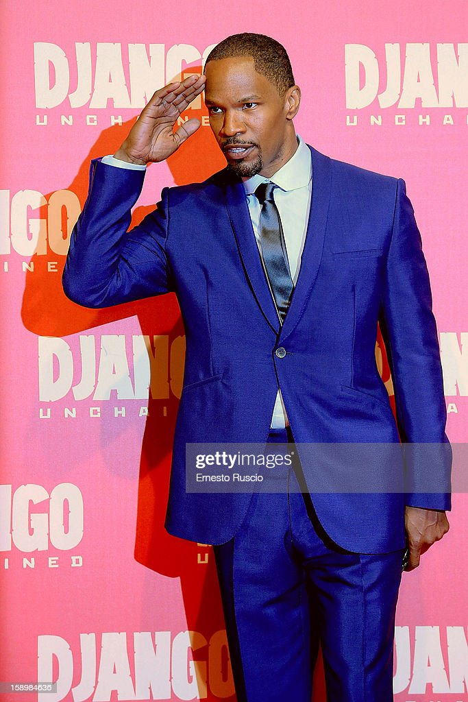 Actor Jamie Foxx attends the 'Django Unchained' premiere at Cinema Adriano on January 4, 2013 in Rome, Italy.