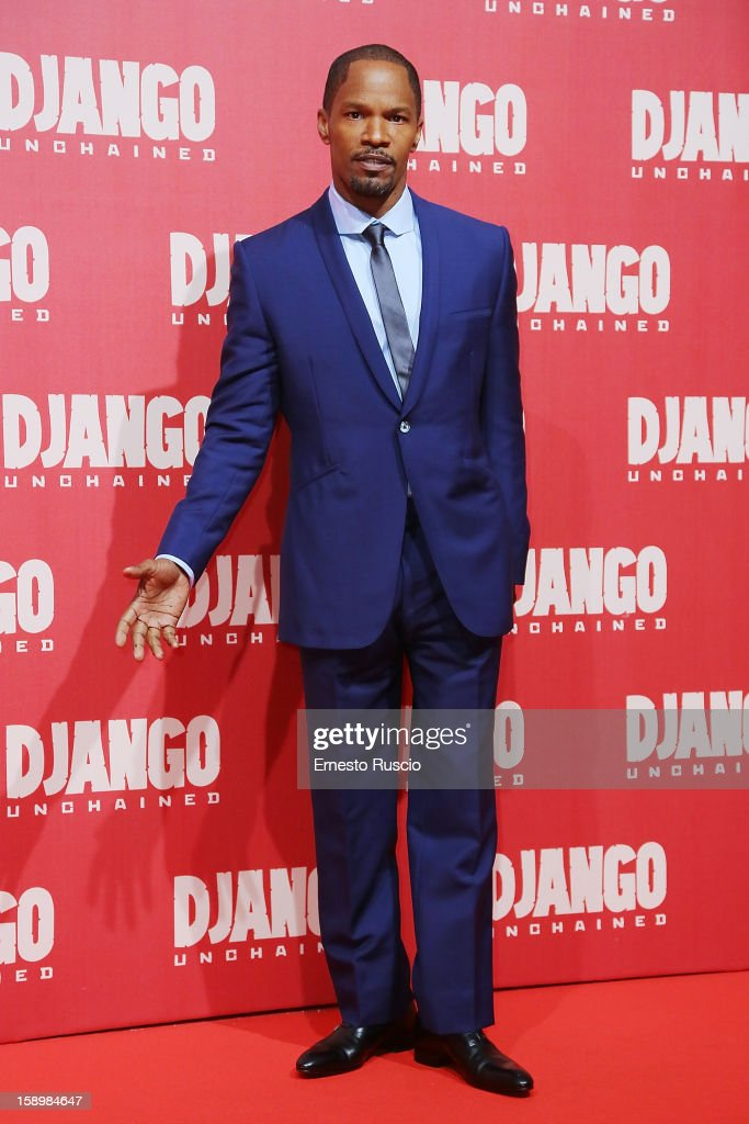 Actor <a gi-track='captionPersonalityLinkClicked' href=/galleries/search?phrase=Jamie+Foxx&family=editorial&specificpeople=201715 ng-click='$event.stopPropagation()'>Jamie Foxx</a> attends the 'Django Unchained' premiere at Cinema Adriano on January 4, 2013 in Rome, Italy.